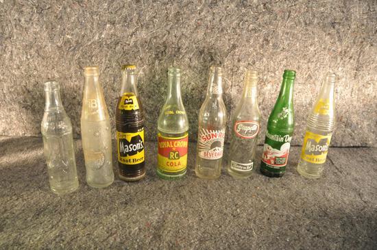 (8) misc. glass soda bottles