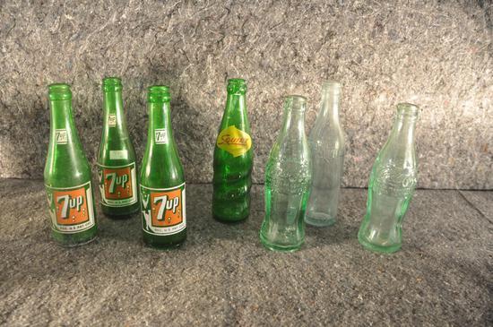 (7) misc. soda bottles