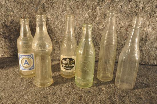 (6) misc. soda bottles
