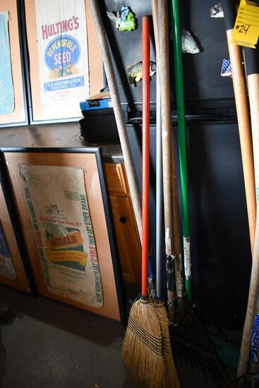 bulk lot of rakes & brooms