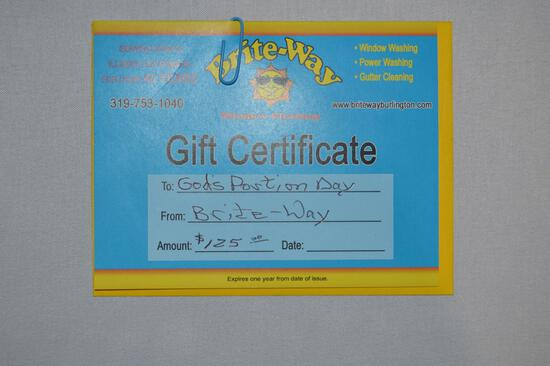 $125 gift certificate for window cleaning (1317)