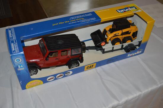 Toy jeep & skid loader on trailer (1563)