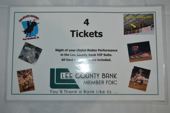 4 tickets to Tri State Rodeo, night of your choice in VIP suite (1353)