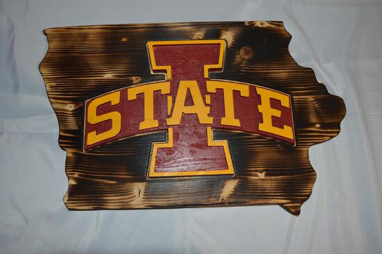 Wooden IA State Cyclones sign (1548)