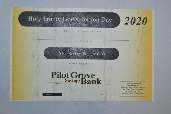 $100 savings bond or $100 cash (1345)