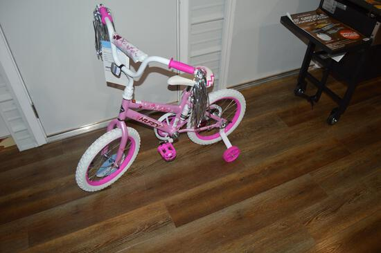 """Girl's 16"""" bicycle with training wheels (1533)"""