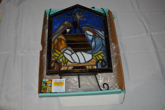 Stained glass nativity with stand (1531)