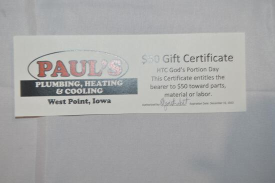 $50 gift certificate towards parts, material or labor (1418)