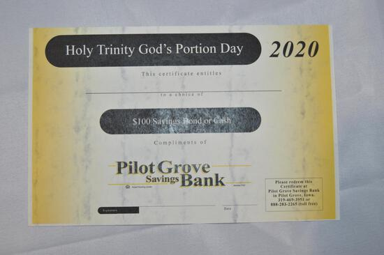 $100 savings bond or $100 cash (1342)