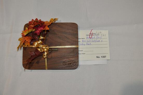 $25 gift certificate to Hinterland Dairy & cutting board (1357)