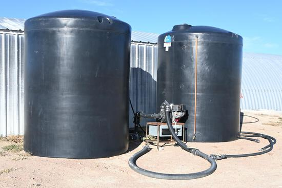 (2) 2,500 gal. poly tanks w/Honda GX 390 electric start eng.
