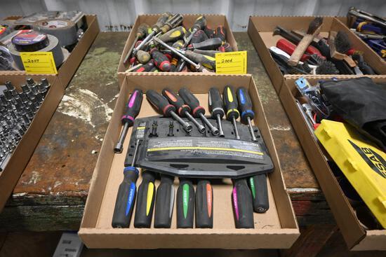 (2) Flats of screwdrivers & nut drivers
