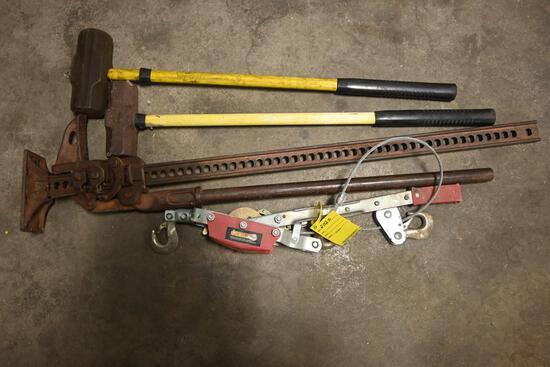 Come-a-long, Handy man jack, sledge hammer