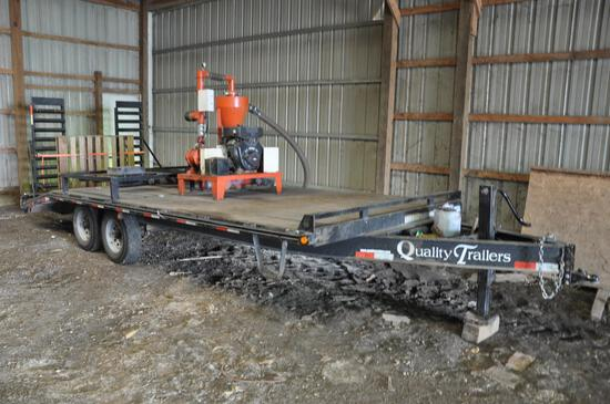 2011 Quality 20' deck-over flatbed trailer w/seed blower