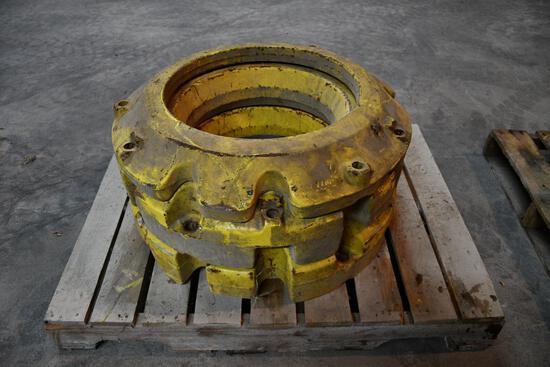 (2) John Deere 450 lb. wheel weights and (1) 165 lb. wheel weight