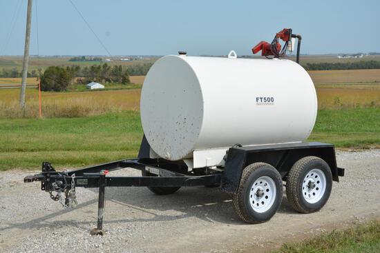 Kieffer/Bluff Ridge 500 gallon tandem axle bumper hitch fuel trailer