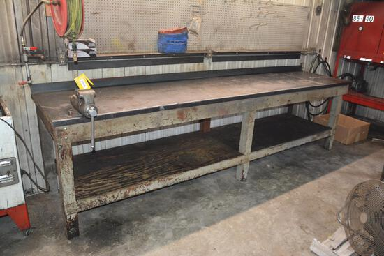 "12' x 38"" x 32"" steel top work table"