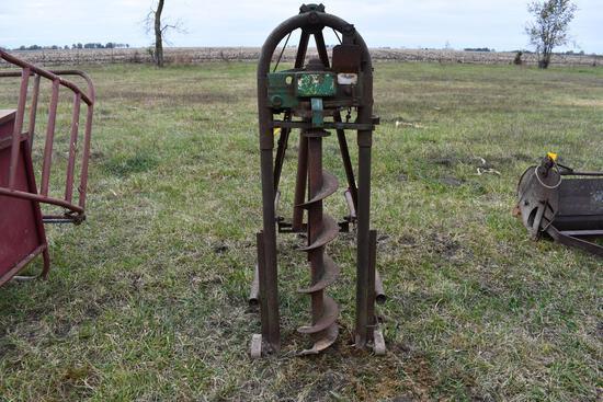 antique 3pt post hole digger