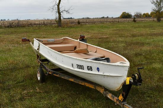 12' aluminum fishing boat with two wheel trailer