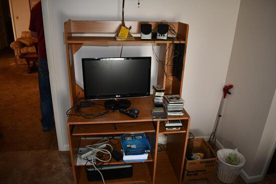 "24"" LG monitor, HP printer scanner combo"