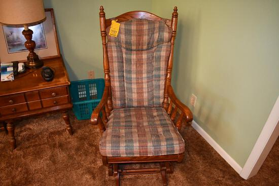 wooden rocker with cushion