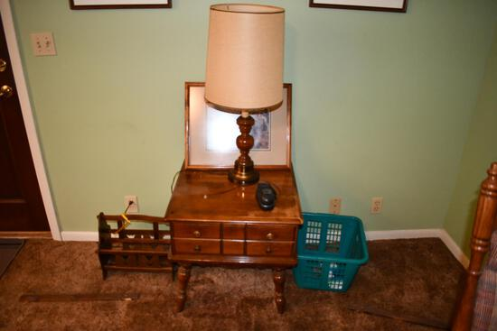 assortment of wooden end table,