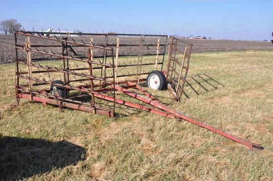 Lindsey 24' 5-bar harrow on cart