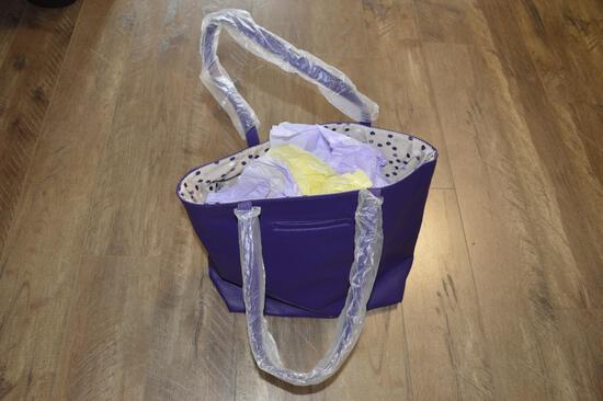 Purple Leather ThirtyOne Tote Bag