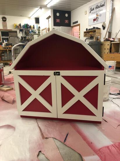 Children's Red & White Wooden Toy Barn