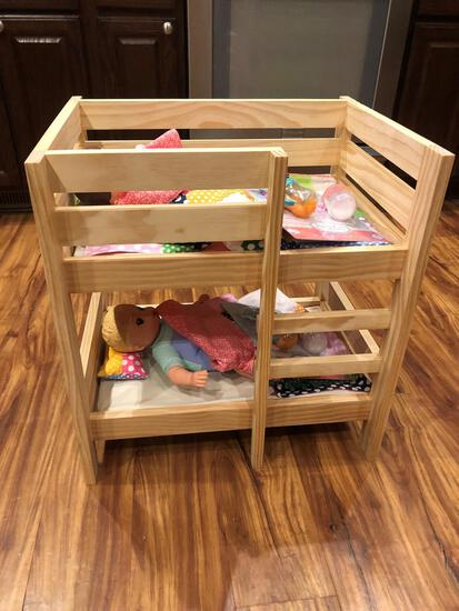 Children's Wooden Doll Bunk Bed Set W/ Accessories