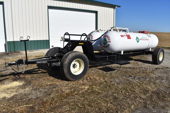 Double 1000 gal. NH3 tanks on Dalton running gears