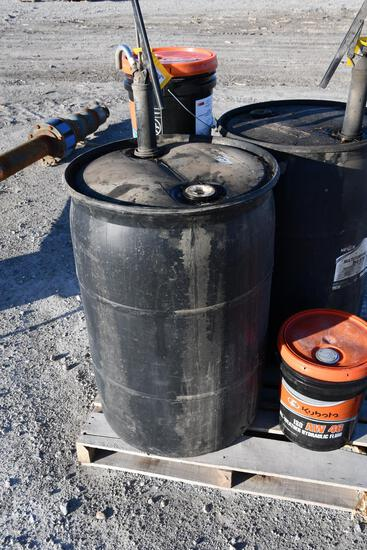 (1) 50 gal drum of SAE 50 engine oil with hand pump