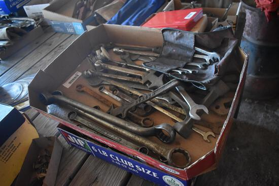 3 flats of tools including misc. wrenches and screwdrivers