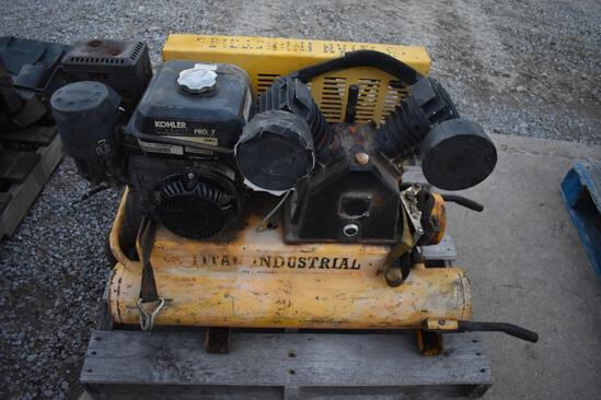 Titan Industrial portable air compressor, Kohler Command Pro 7 eng., hose reel