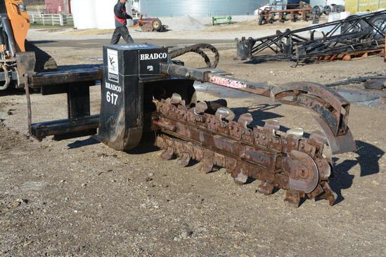 Bradco 617 6' skid loader mount trencher