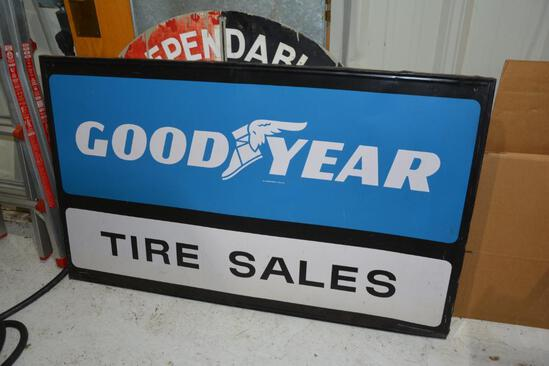 Single sided Goodyear Tire Sales metal sign w/ original wood frame
