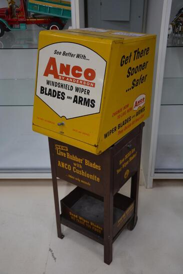 Anco wiper and blades display box on 2-wheel cart