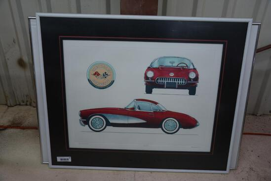Framed 1956 Corvette print