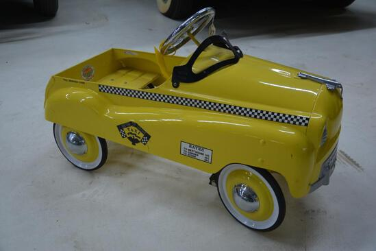 New York City Checker Taxi metal childs pedal car