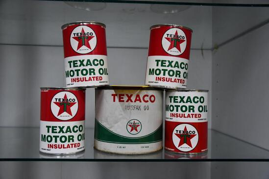 (5) Texaco oil cans