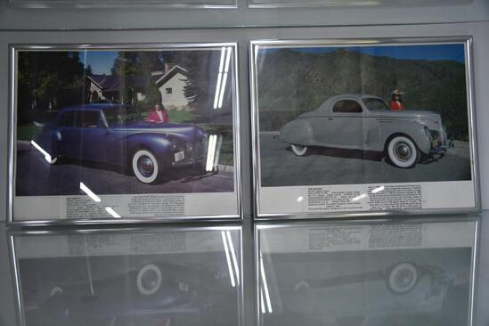 (2) Framed pictures of 1941 and 1939 Lincoln cars