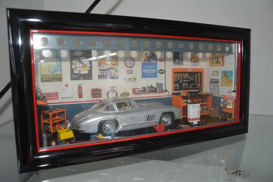 Ferret's Mini Model shadow box display of Mercedes car in garage