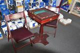 High quality Monopoly self storing table with two matching chairs w/ leather cushions