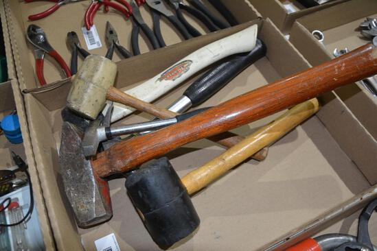 Flat of hammers and rubber mallets