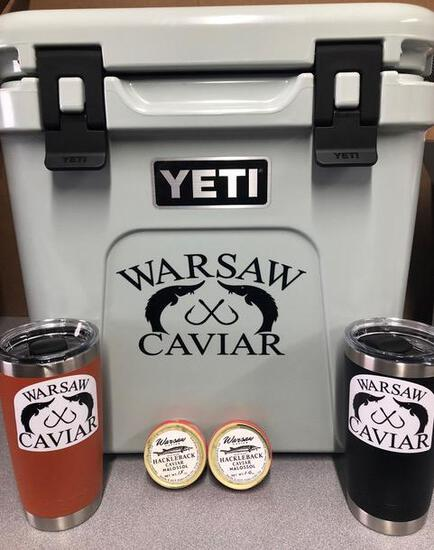 24 Roadie Cooler, (2) Yetti 20 oz Tumblers and Gift certificate for (2) - 1 ounce tins of Caviar don