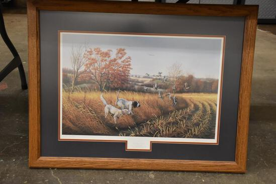 1992 Iowa Ducks Unlimited John Berhardt birddog country print/ with t shirt