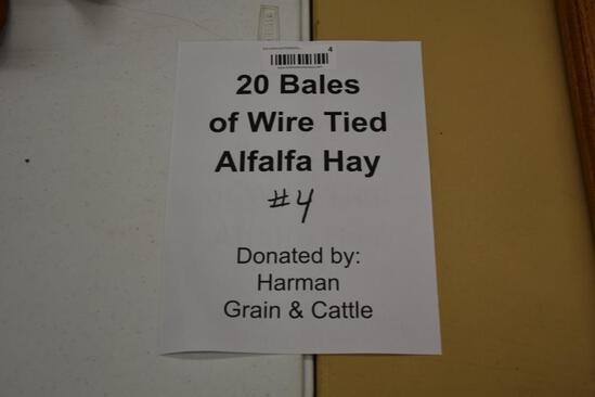 (20) Bales of wire tied alfalfa hay