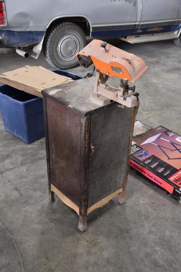 Bell Industries grinder on custom cabinet base