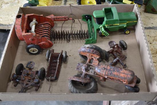 Flat of older machinery toys