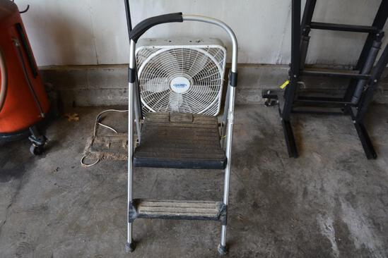 Step stool , box fan and dust mop